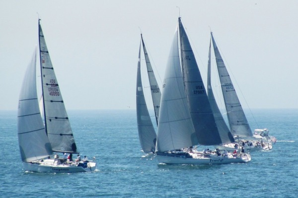 PHRF-A class Temptress and Paranoia get off to a quick start at the beginning of the Newport-to-Ensenada Race on Friday. Temptress (Ray Godwin, LBYC) finished second in the class on corrected time.