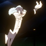 "Bugs Bunny spoofs Leopold Stokowski in ""Long-Haired Hare."""