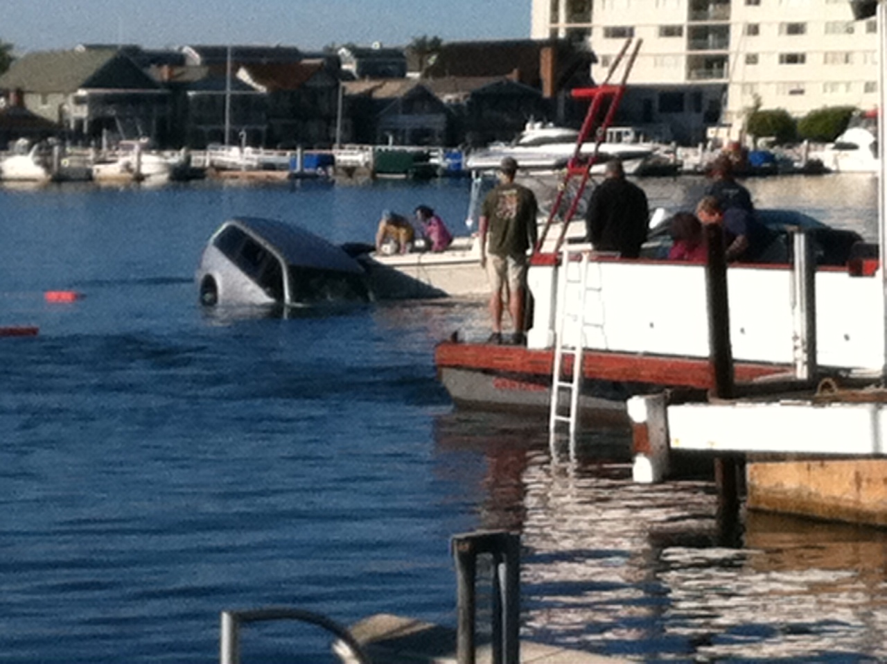 The Minivan Sinking After Family Escaped Photo By Lori Williams Courtesy Newport Beach Fire Department