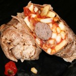 A Boerewors Sausage Roti Wrap, also known as an African burrito, at Mozambique Peri Peri.