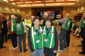Newport Beach Fire Department Spirit of CERT Award recipients Marilyn Broughton and Evalie DuMars at the event.