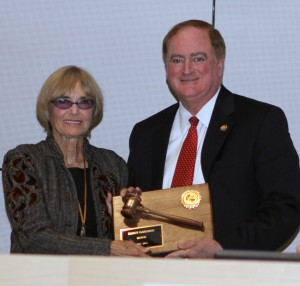 "Newport Beach Mayor Keith Curry (shown here with former mayor Nancy Gardner) delivered a ""State of the City"" address at the Corona del Mar Chamber of Commerce luncheon."