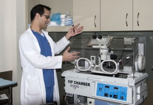 Dr. Abdullah explains the IVF chamber. — Photo by Charles Weinberg