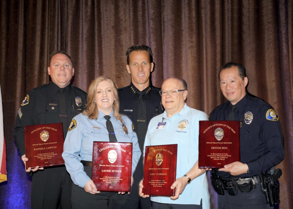 (left to right) Randall Lawton, Laurie Syvock, Chief Jay Johnson, Gary Standard, and Dennis Hoo.