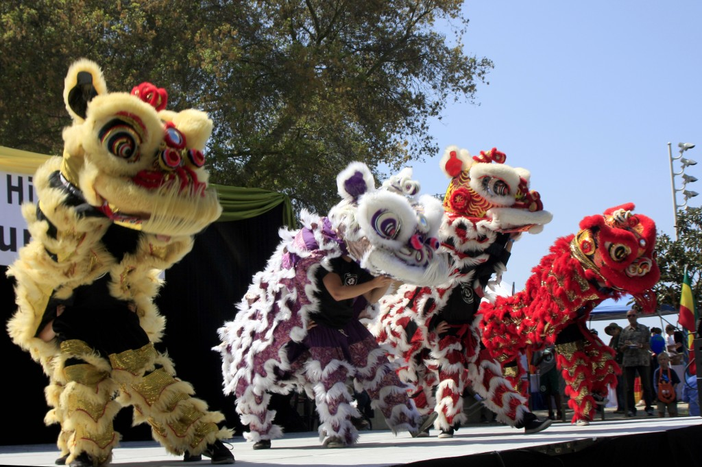 The Ane Thanh Chinese Lion Dance group performs at the 12th Annual Multicultural Fair at Sage Hill School on Saturday. — Photos by Sara Hall