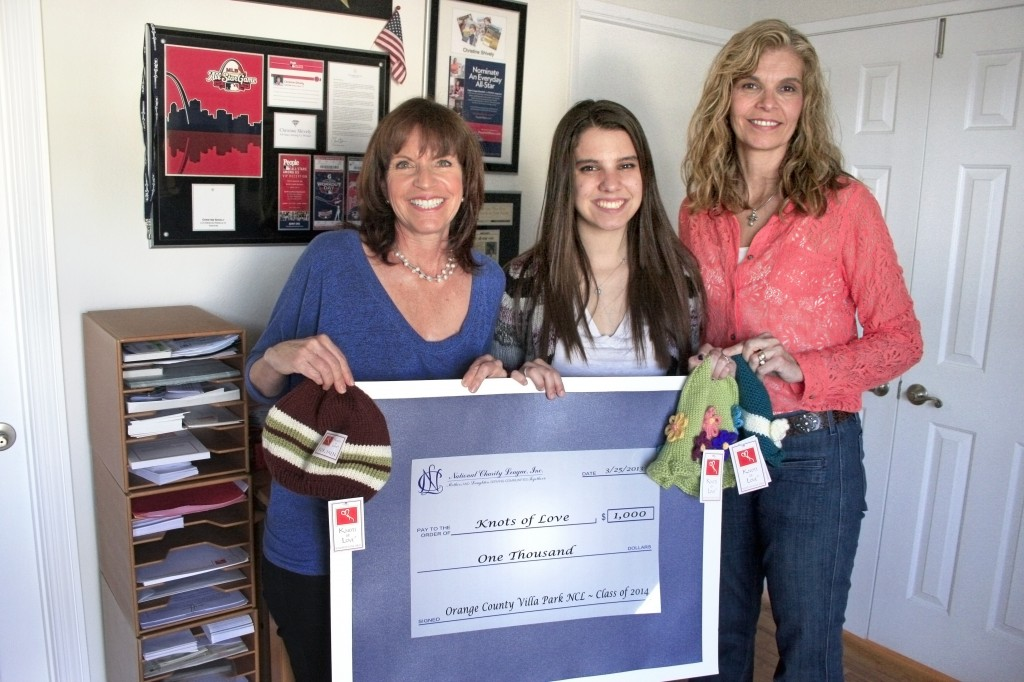 (left to right) Knots of Love founder Christine Fabiani, National Charity League members Kelly Foster and her mother, Barb.