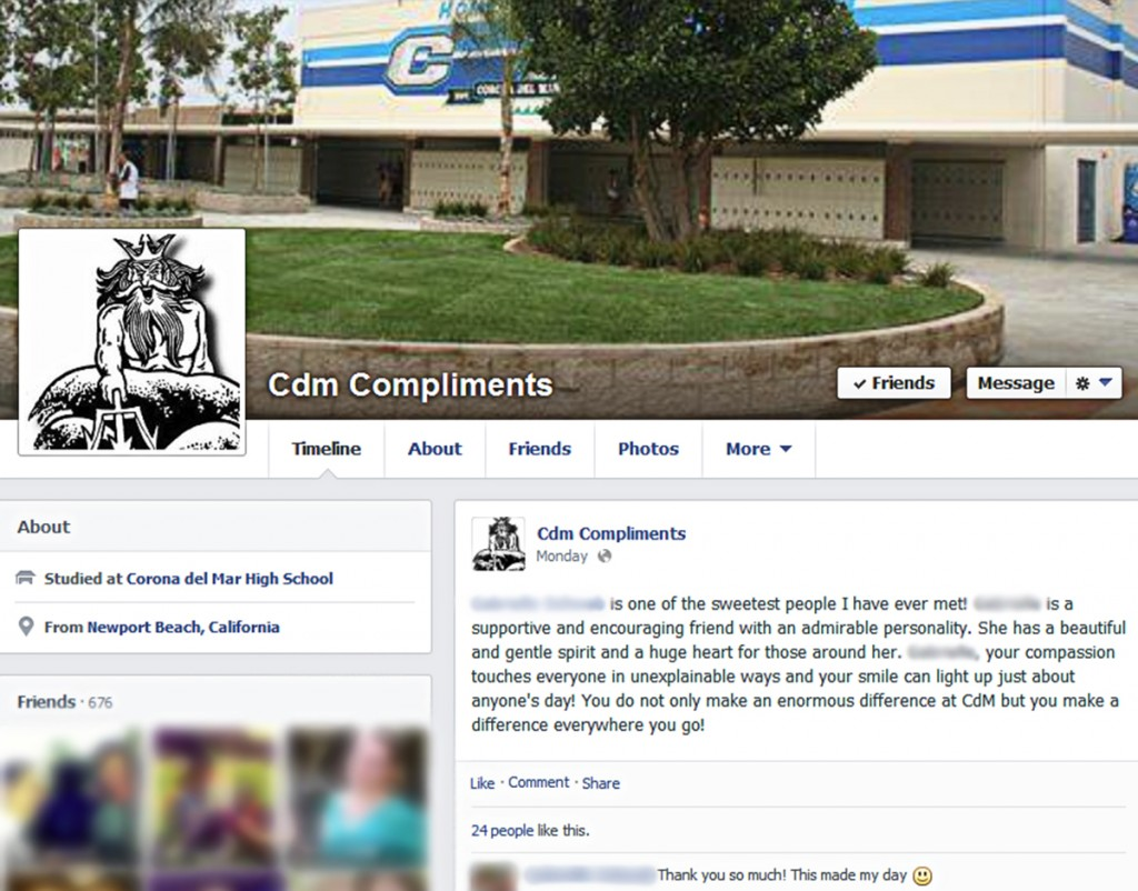 The CdM Compliments facebook page. (This image has been altered for privacy)