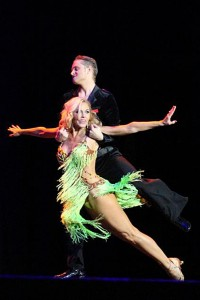 Local celebrity Shawn Harris with professional dancer, Danas Jaksevivius. — Photo by Sandy Zimmer and Justin Berkobien