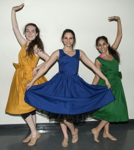 (right to left) Junior Liliana Dawidoff, 17, sophomore Rachel Wagscshal, 16, and freshman Kendall Kurzweil, 14, strike a pose from next week's show.