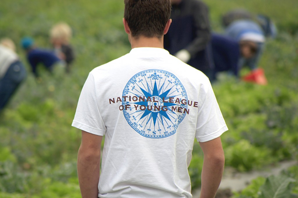 A NLYM teen watches over the field as he helps harvest lettuce, cabbage and broccoli for the food bank.