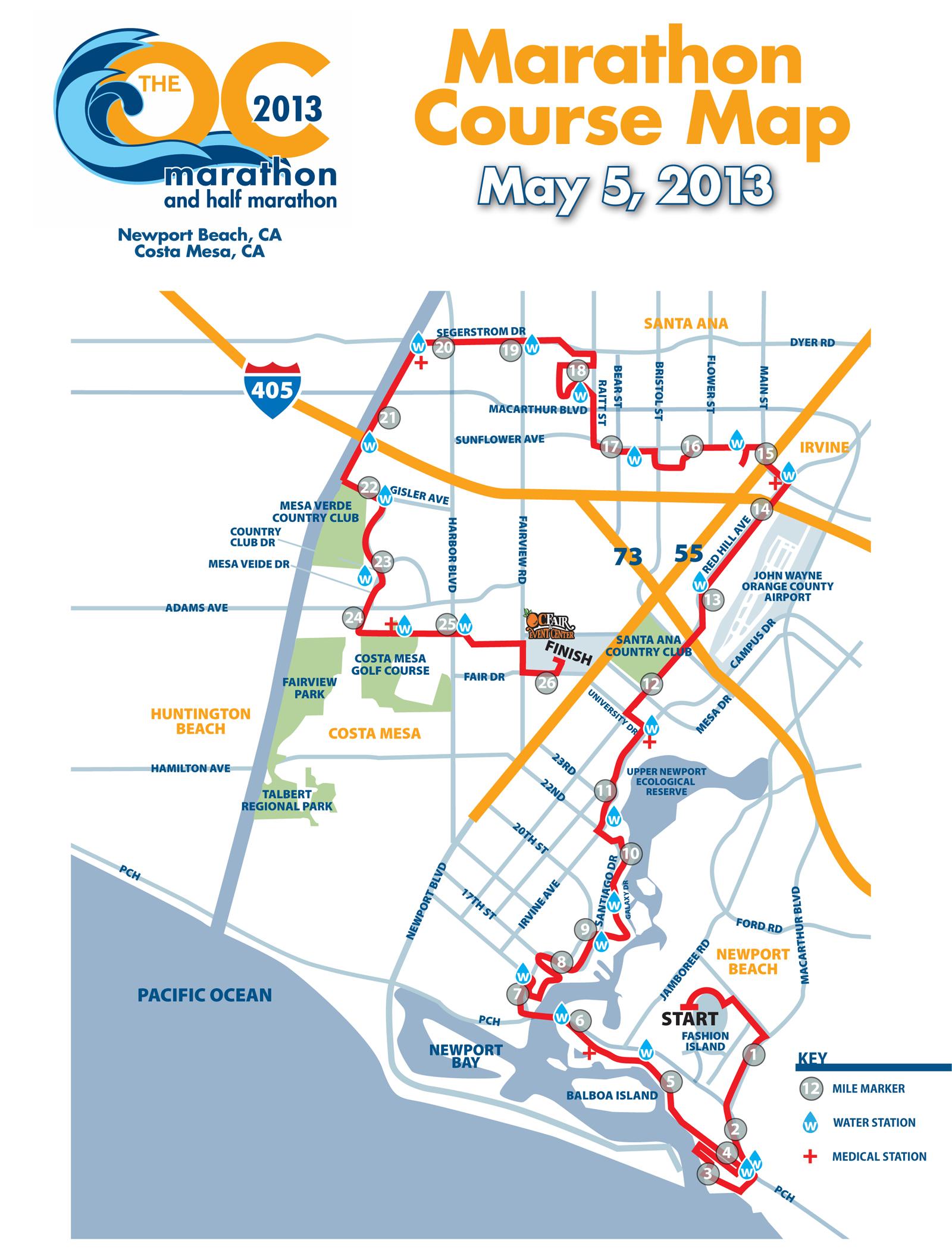 Newport Beach Marathon Map
