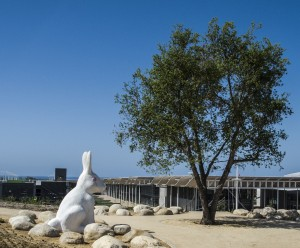 Official rabbit greeter ready for grand opening of Newport Beach City Hall  — Photo by Lawrence Sherwin