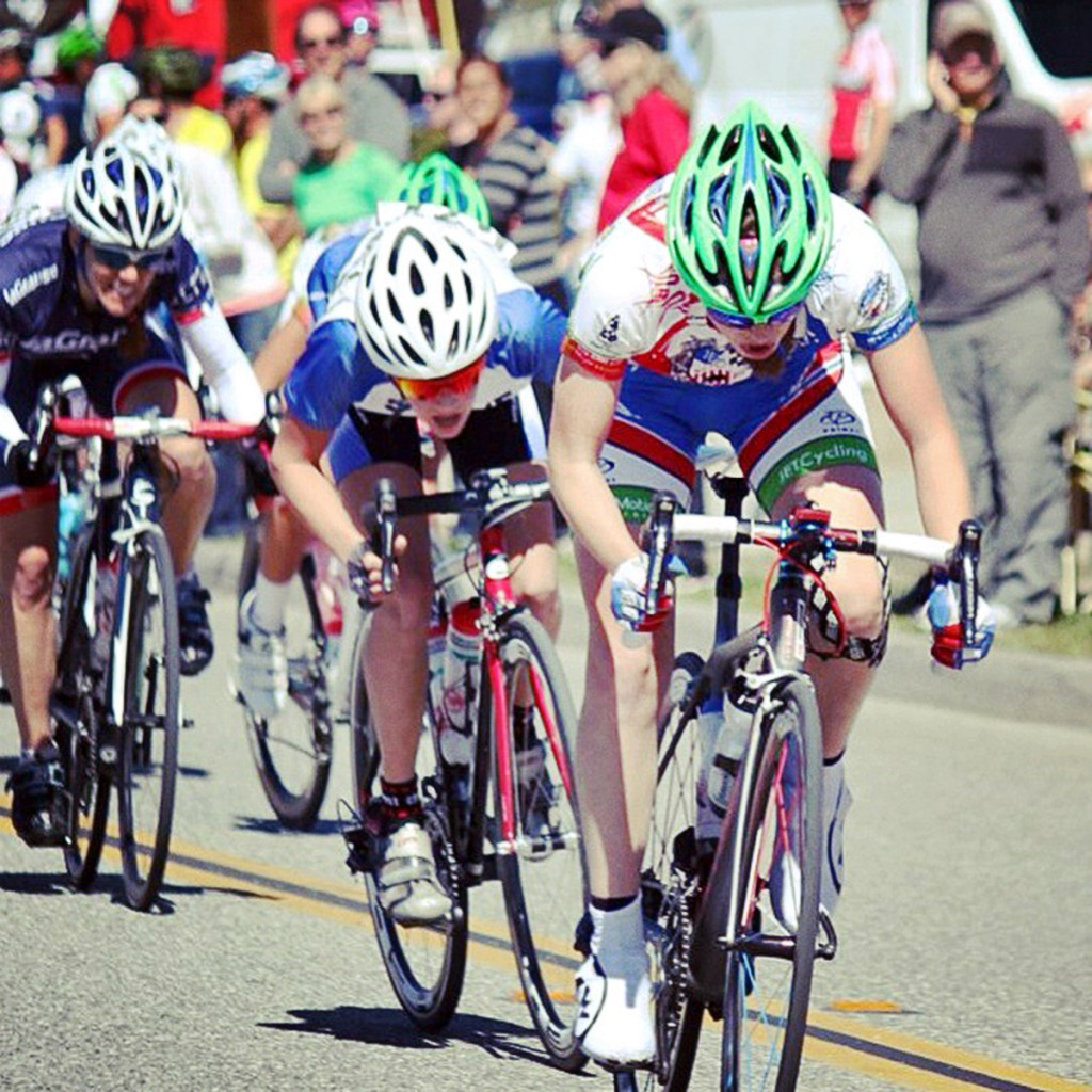 Tanner racing in the San Dimas Stage Race women's pro race in March. — Photo by Danny Munson/Cycling Illustrated