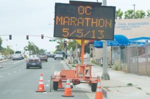 Street warnings for Saturday's OC Marathon.