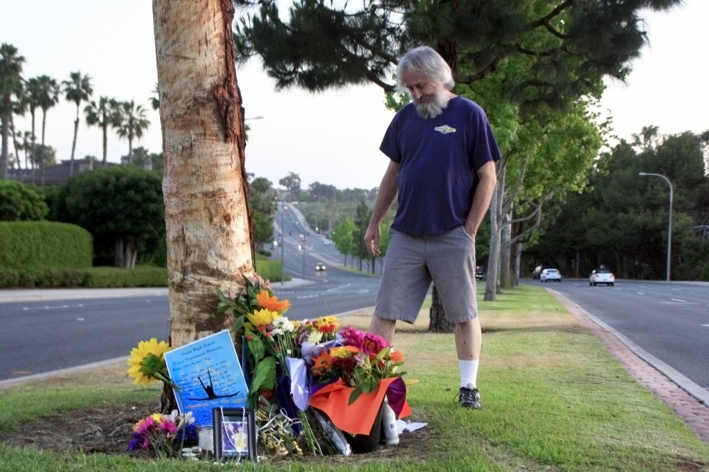 Gary Fain of Irvine visits the accident site on Wednesday. — Photo by Sara Hall