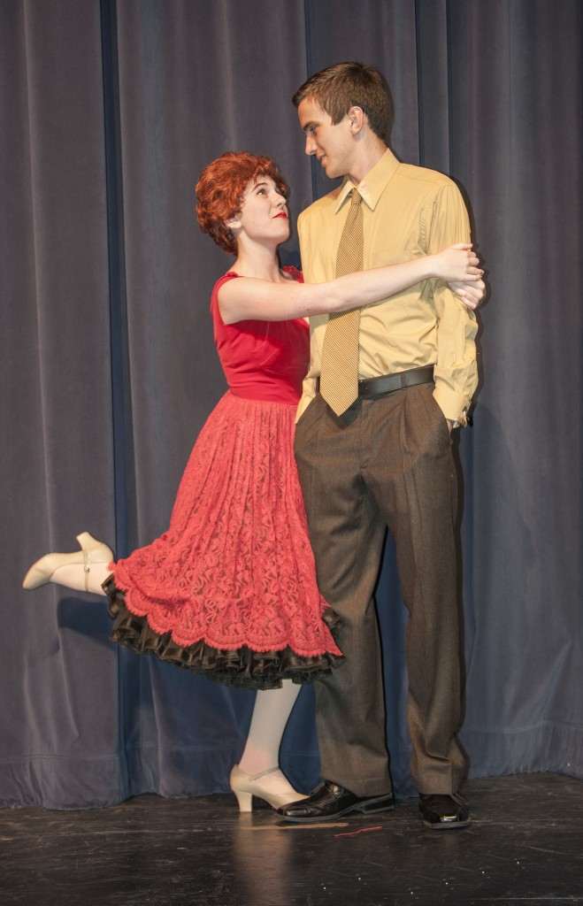 Junior Alexis Stary and senior Sawyer Stahl perform a scene together.