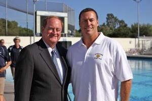 Newport Beach Mayor Keith Curry and NB Water Polo director and head coach Robert Lynn.
