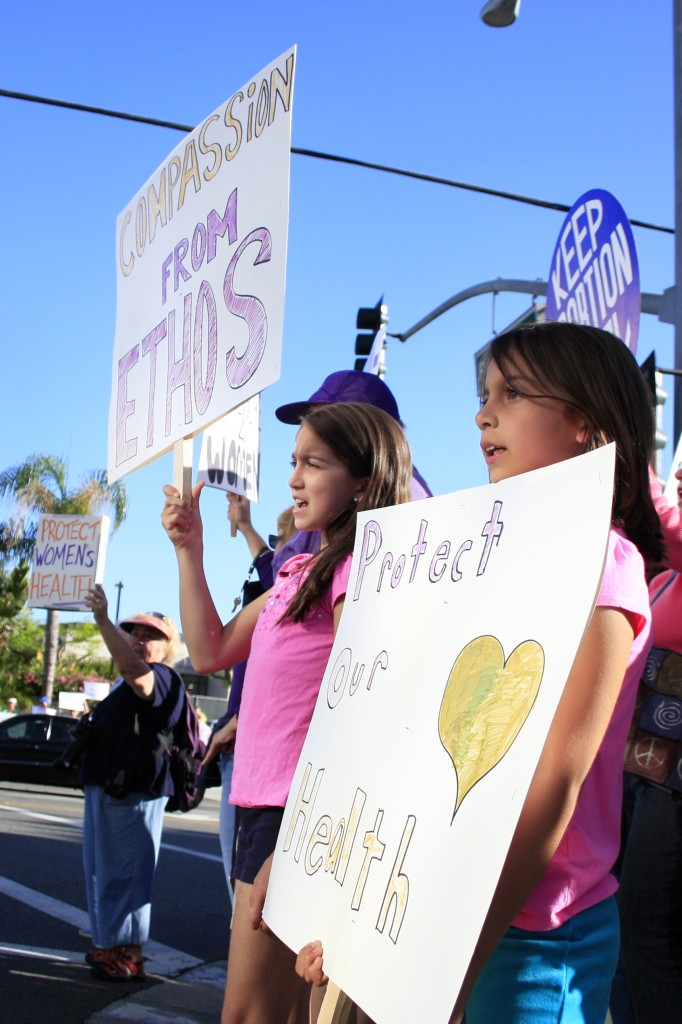 The crowd on both sides of the cause had passionate supporters of all ages, including these two girls.
