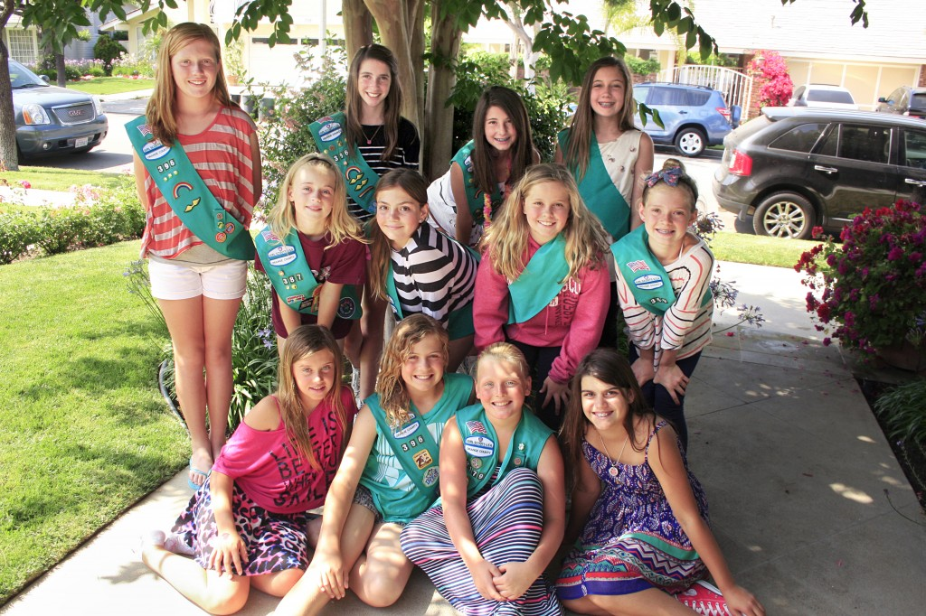 Girl Scout Troop 396: (Front row, left to right) Nikola Schmitt, Riley Orcutt, Genevieve Hilbert, Sophia Damore; (middle row, l-r) Paris Crenshaw, Erin Esnard, Ella Musselman, Anna Wilde; (back row, l-r) Caroline Leber, Kristin Fredrick, Sophie Donaldson, Brooke Healy. Not pictured: Janey Phillips. — Photo by Sara Hall
