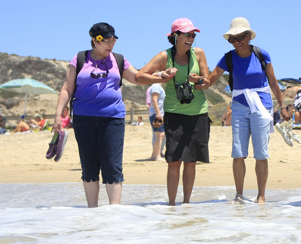 (left to right) Eileen McCrickerd, a student from the Braille Institute, Brenda Sabin, a Crystal Cove volunteer and Sea and Sage Audubon Society member, and Lauretta Herndon, a Braille Institute student and volunteer, get their feet wet at Crystal Cove State Park on Wednesday after exciting their senses exploring the Berns Environmental Study Loop.