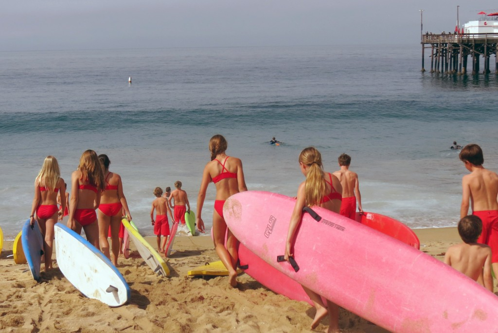 The kids head to the water.