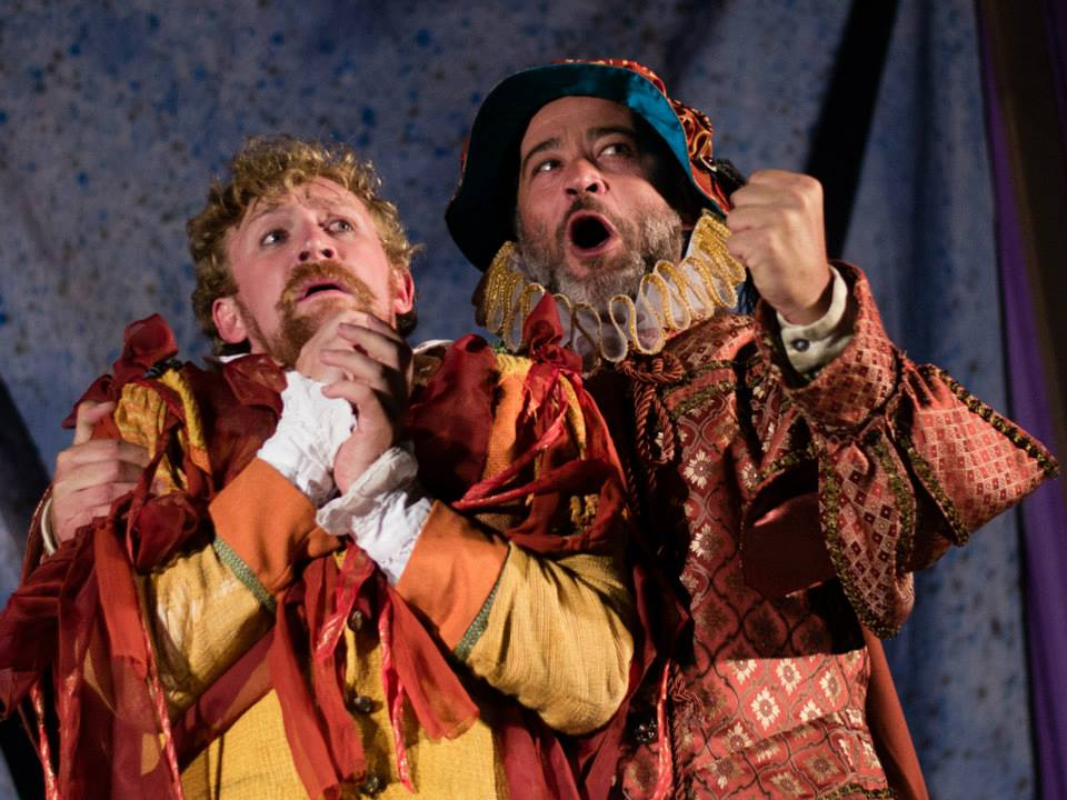 """Parolles (Cylan Brown) and Lefeu (Mark Rimer) in Shakespeare by the Sea's production of """"All's Well That Ends Well,"""" directed by Patrick Vest. Photo courtesy Shakespeare by the Sea/by Aaron Matthew Kaiser"""
