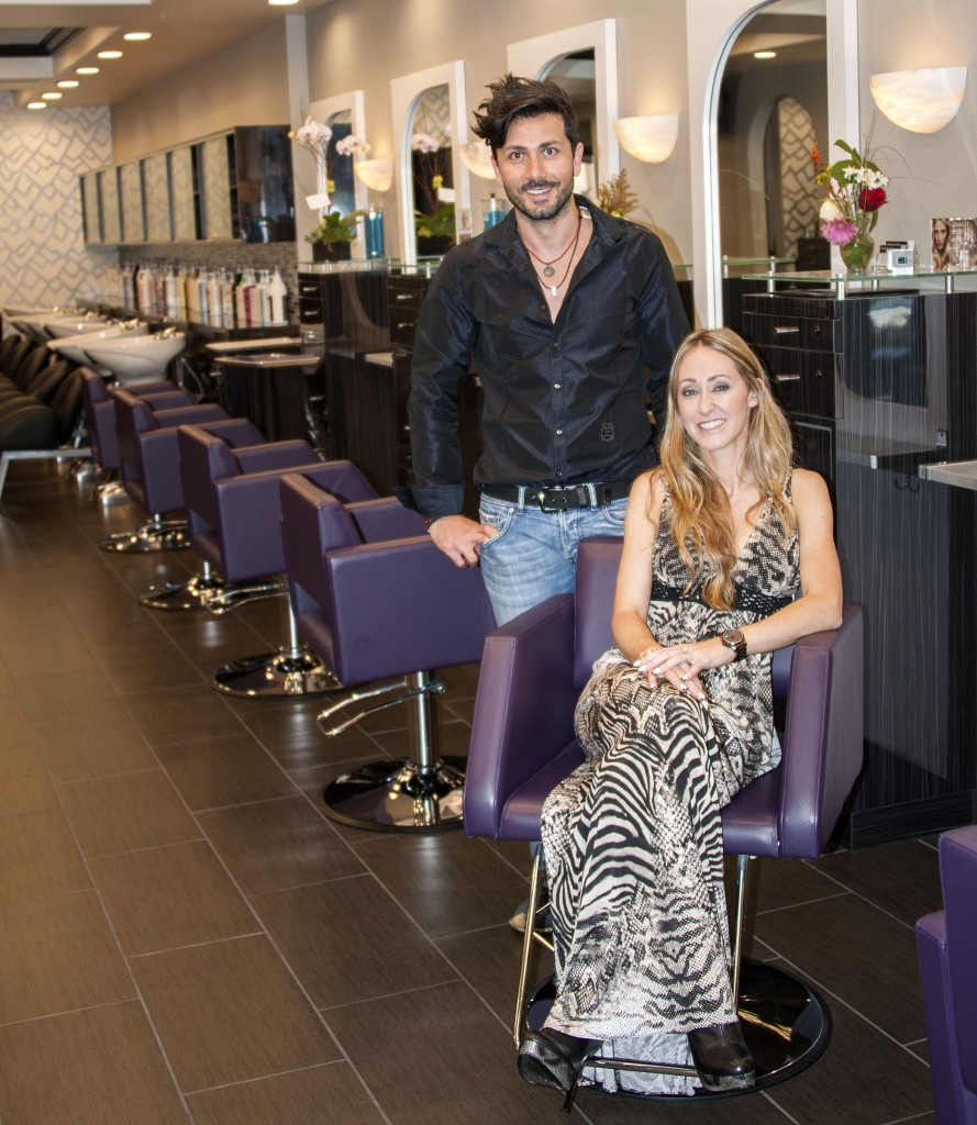 Ashtin Salon owners, Metin and Ashleigh Serdan, in their shop in Corona del Mar. — All photos by Charles Weinberg