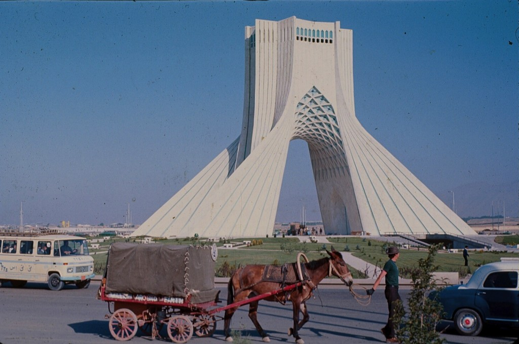 Passing the Azadi Tower in Tehran, Iran.