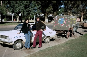 Jenni Samuel and Dave Kunst in Mildura, Australia, after Kunst's mule died and Samuel agreed to tow his wagon the rest of the way.