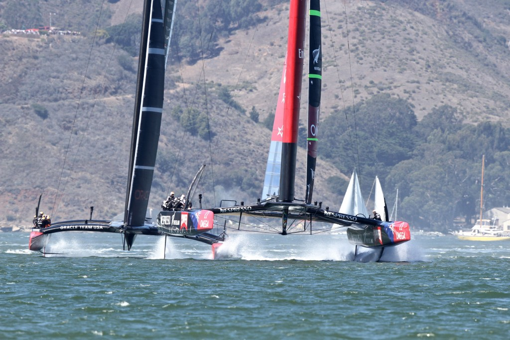 Team New Zealand and Oracle Team USA in a close race