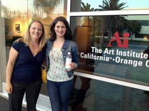 Kristi Piatkowski and Isabel Bellino at the Art Institute of California-Orange County after a meeting with design students to discuss the new logo.