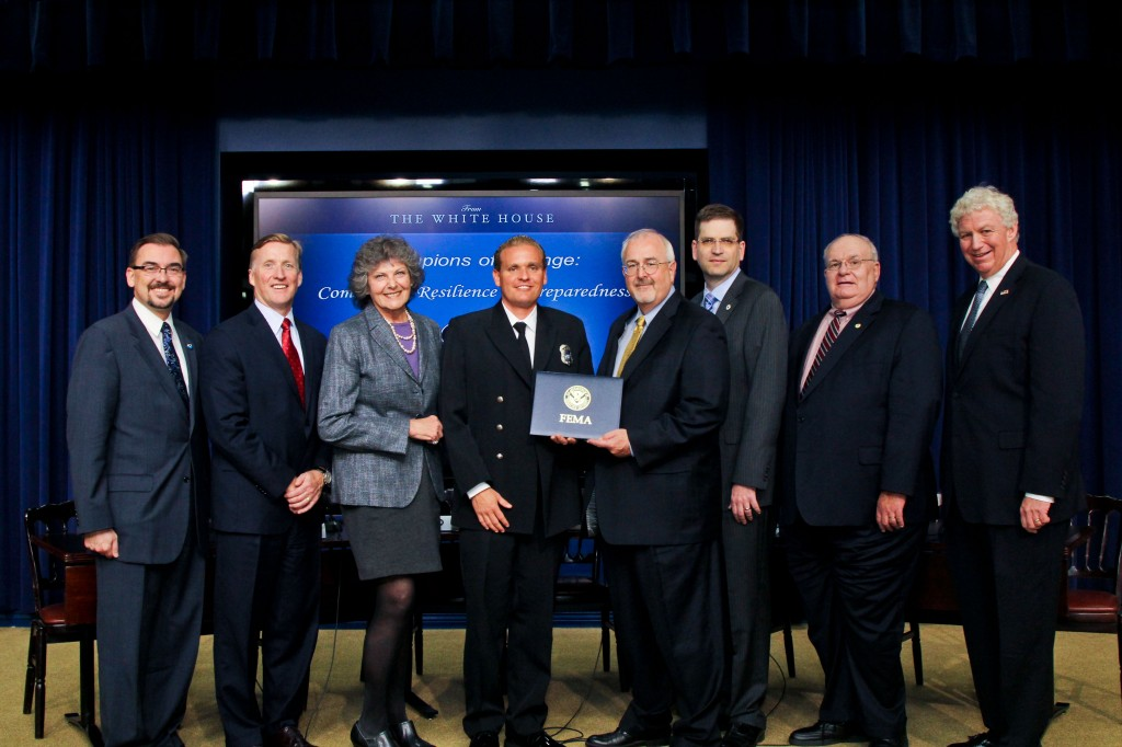 Matt Brisbois (fourth from left) and CERT board member Karen Tringali with Federal Emergency Management Agency and White House officials. — Photo courtesy Matt Brisbois