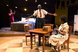 "Tracey A. Leigh, Charlie Robinson and Kim Staunton in South Coast Repertory's 2013 production of ""Death of a Salesman"" by Arthur Miller. Photo by Debora Robinson/SCR."