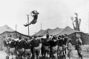 A highlight of the 1953 Jamboree was the blanket toss.