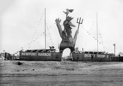 The entrance to the Boy Scouts of America National Jamboree in 1953 welcomed around 50,000 boys and young men from across the country to Newport Beach.