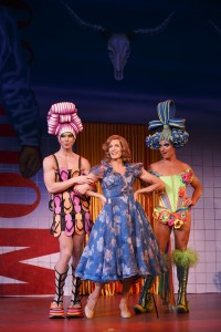 Left to Right Wade McCollum as Mitzi, Scott Willis as Bernadette and Bryan West as Felicia. / photo credit Joan Marcus
