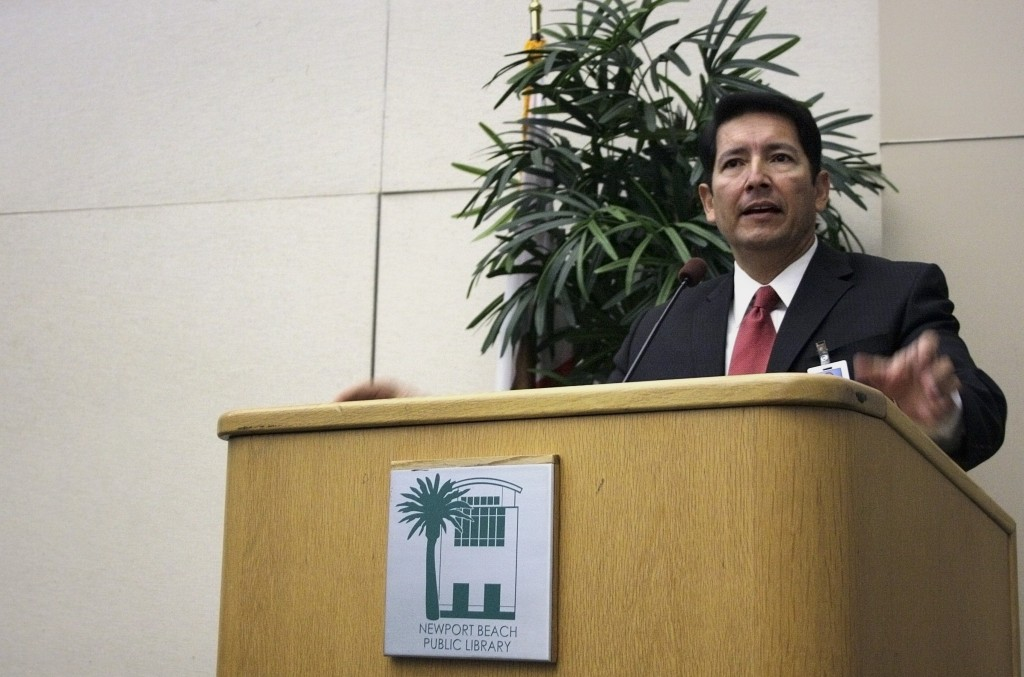 Newport-Mesa Unified School District superintendent Fred Navarro speaks at an event last year. — NB Indy file photo ©