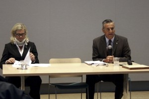 Council members Leslie Daigle and Tony Petros at the meeting.