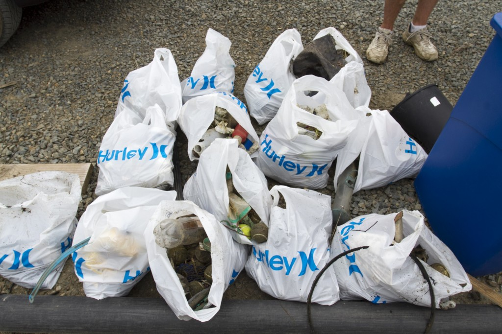 Some of the gathered garbage collected during the Coastal Cleanup.