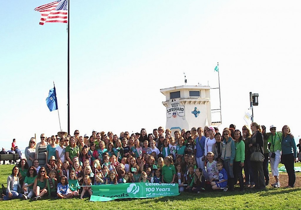 Girl Scouts from Laguna Beach Troop 308 helped make scarves prior to this year's event. — Photo courtesy Laguna Beach Girl Scout Troop 308.