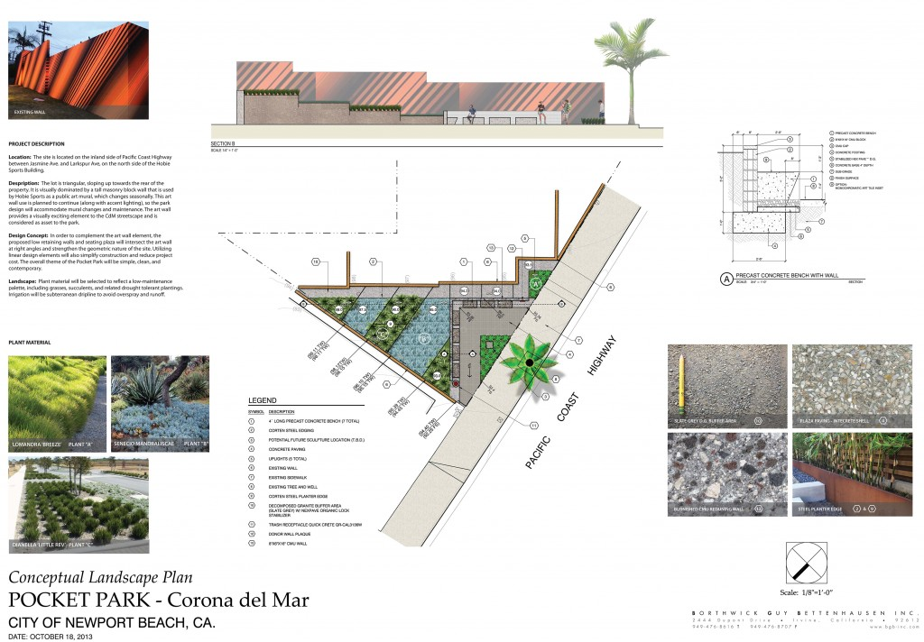 The conceptual landscape plan for the CdM Pocket Park at 3140 E. Coast Highway. — Photo courtesy city of Newport Beach