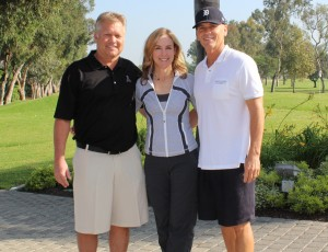 (left to right) Golf Classic chair Scott Pievac, UCP-OC CEO Cathleen Collins, founding sponsor Dana Dowers
