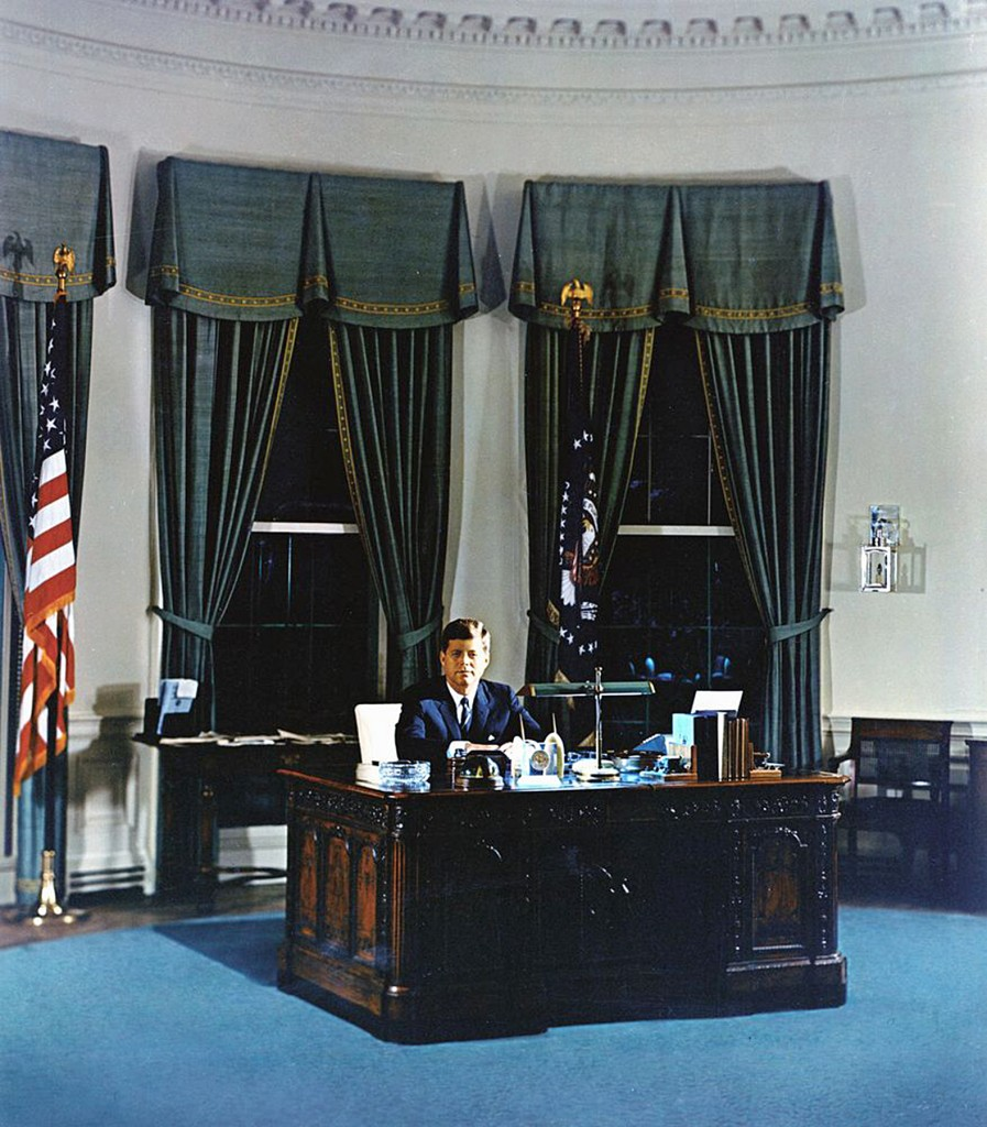 JFK portrait in the White House. — Photography by Robert Knudsen. White House Photographs. John F. Kennedy Presidential Library and Museum, Boston