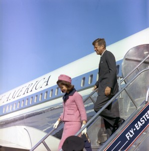 Nov. 22, 1963, President and Mrs. Kennedy descend the stairs from Air Force One at Love Field in Dallas, Texas.    — Photography by Cecil Stoughton/John F. Kennedy Presidential Library and Museum, Boston.