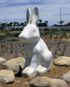 Feb: More than a dozen rabbit figures were installed in the new Civic Center park