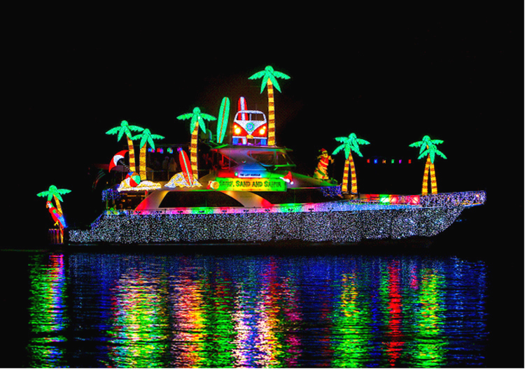 """The Last Hurrah"" decorated for the 2012 Christmas Boat Parade"