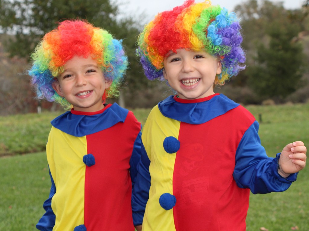 Nathan Nightingale, 4, and Troy Fredrick, 3, both of Newport Coast, are gearing up for the holiday carnival. The boys plan to wear clown costumes to the event.