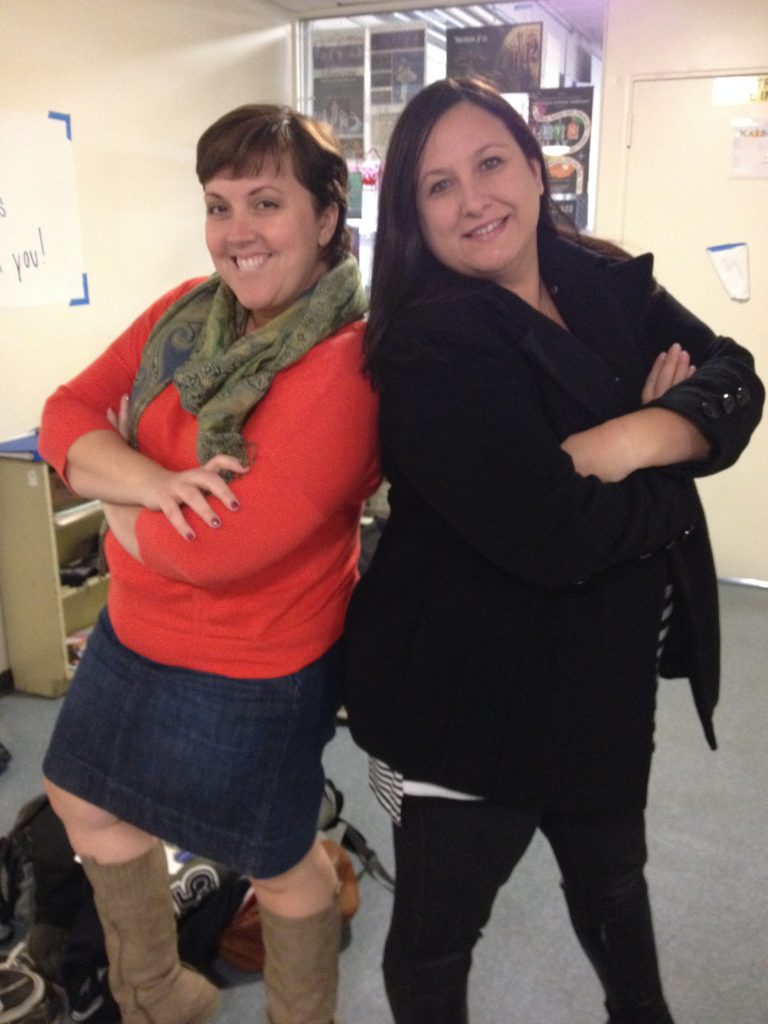 """Tina Polychronopoulos (left) and Laura Mayberry strike a pose as they prepare for next week's """"Dancing with the Teachers"""" performance."""