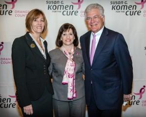 Lynn Jolliffe (Komen board president), Dr. Judith Salerno, Dennis Kuhl (chairman Anaheim Angels)