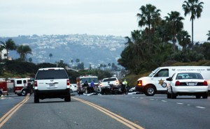 The accident on PCH on Sunday. — Photo by Christopher Trela